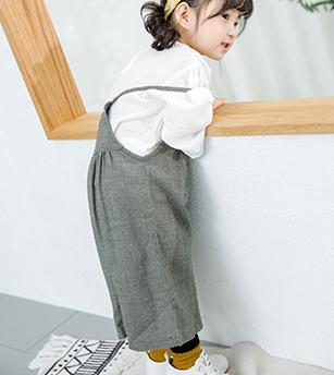 棉麻背带裤