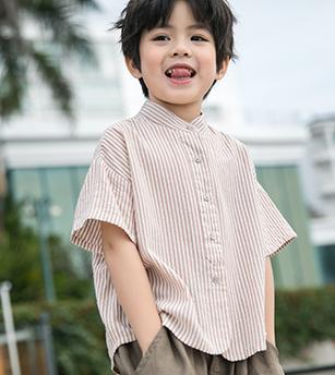立领条纹衬衫